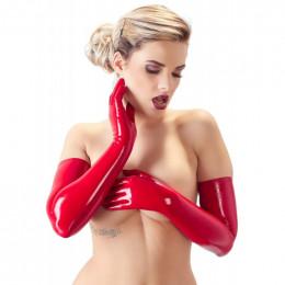 Перчатки из латекса LateX выше локтя, красные, размер M – фото