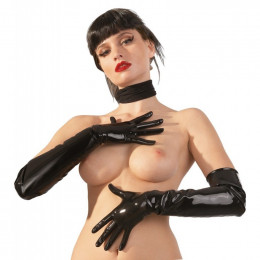 Перчатки LateX латексные, выше локтя, черные, размер L – фото