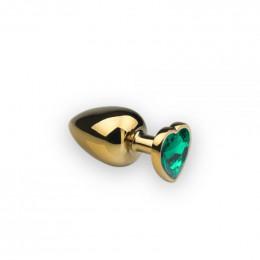 Анальная металлическая пробка с камнем зеленого цвета в форме сердца Gold S Dark Green