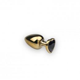 Анальная металлическая пробка c камнем в форме сердца Gold Heart Black Diamond S