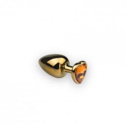 Анальная металлическая пробка с камнем в форме сердца Gold Heart Citrine S