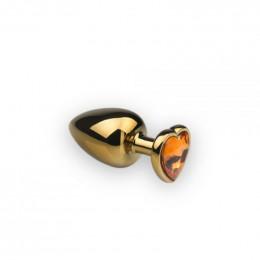 Анальная металлическая пробка с камнем в форме сердца Gold Heart Citrine M