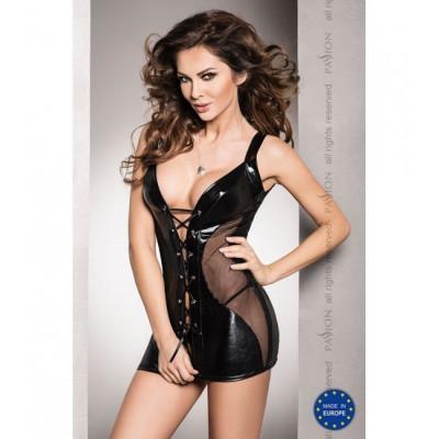 Платье виниловое сексуальное на шнуровке  Шемиз, XXL/XXXL - черный – фото 1