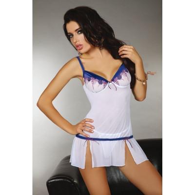 Сорочка біла еротична з синіми деталями XL - білий/синій – фото 1