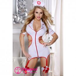 Костюм медсестры Sunspice платье с подтяжками, L/XL (маломерный, на размер M) – фото
