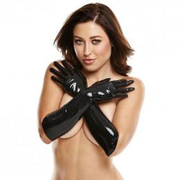 Перчатки латексные длинные черные с наклейками на соски, M/L – фото