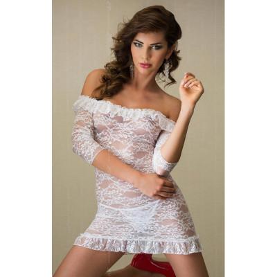 Гипюровое платье  SoftLine Agathe со стрингами белое, размер S/M (20879) – фото 1