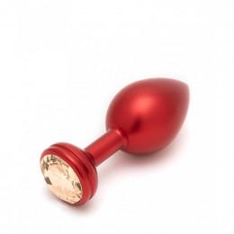 Анальная пробка Andaro из алюминия с золотистым кристаллом, красная, 8.5 см х 4 см