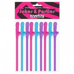 Трубочки с пенисами, разноцветные 9 шт. (прикол) – фото