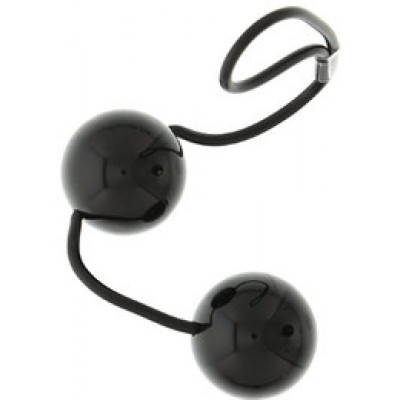 Черные вагинальные шарики на мягкой сцепке Perfect balls - черный – фото 1