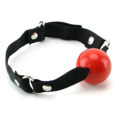 Резиновый кляп-шарик, красный - красный/черный – фото 1