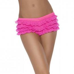 Сексуальные трусики розовые с кружевами в виде юбочки, OS