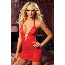 Ажурное платье с глубоким декольте, красное, One Size