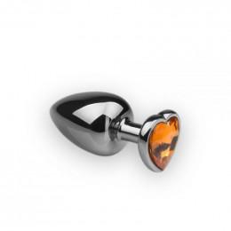 Анальная металлическая пробка с камнем в форме сердца,  L