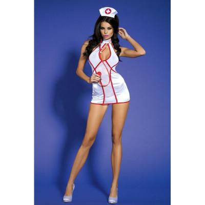 Костюм сексуальной медсестры, 4 предмета, размер One size - белый – фото 1