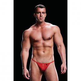 Мужские cтринги на молнии спереди LOW-RISE G-STRING RED, L/XL