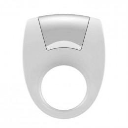 Белое эрекционное кольцо с вибрацией