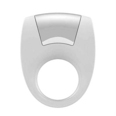 Белое эрекционное кольцо с вибрацией - белый – фото 1