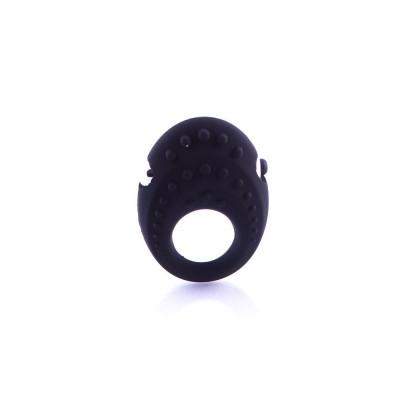 Черное эрекционное кольцо с вибрацией - черный – фото 1