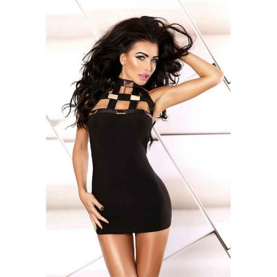 Еротичне облягає міні сукня з металевими вставками S/M - чорний – фото 1
