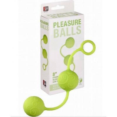 Зеленые вагинальные шарики на мягкой сцепке NEON PLEASURE BALLS (2717) – фото 1