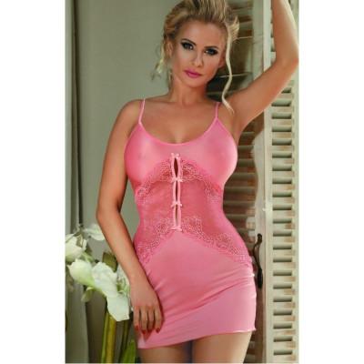 Сексуальна рожева сорочка з мереживними вставками S/M - рожевий – фото 1