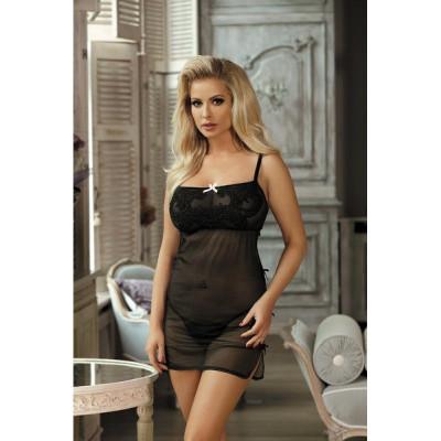 Сексуальная сорочка с вышивкой, черная  S/M - черный – фото 1