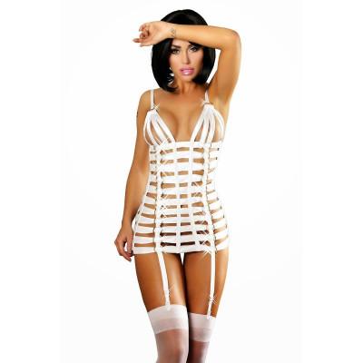 Платье сексуальное из лент белое S/M - белый – фото 1