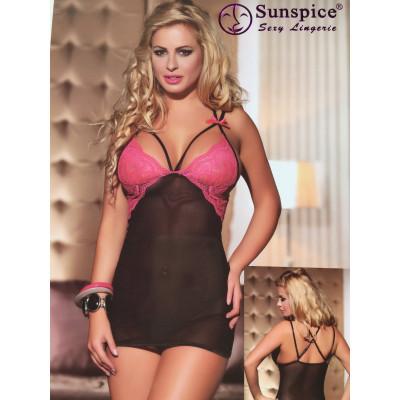 Сексуальная сорочка с розовым кружевом O/S - розовый/черный – фото 1