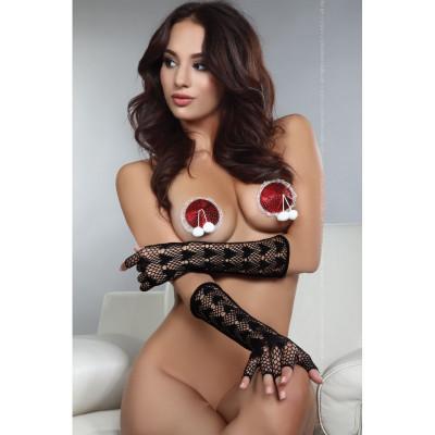 Наклейки на соски пэстисы новорічні для костюма Сексі Снігуроньки - червоний – фото 1