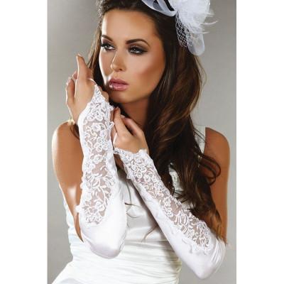 Довгі білі рукавички - білий – фото 1