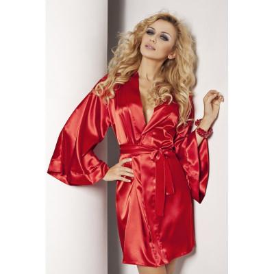 Халатик еротичний атласний Cassie Red XL - червоний – фото 1