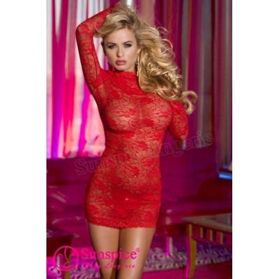 Сексуальне плаття мереживне червоне O/S - червоний – фото 1
