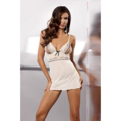 Сексуальая бежевая сорочка с кружевом S/M - бежевый – фото 1