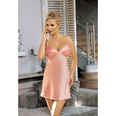 Красивая розовая сорочка S/M - розовый – фото 1