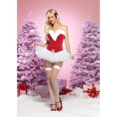 Корсет новогодний для Секси Снегурочки,  M - красный – фото 1