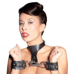 Ошейник с наручниками, из кожи, Zado, черный – фото
