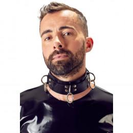Ошейник кожаный LateX, черный, размеры 35 см - 43 см – фото