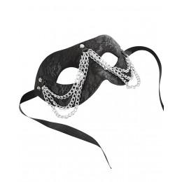 Кружевная маска, декорированная цепями, с лентами для завязывания, черный – фото