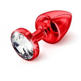 Анальна пробка Diogol з стразом, червона, 25 мм – фото