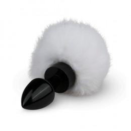 Металева анальна пробка чорна з білим помпоном Bunny Tail Plug – фото