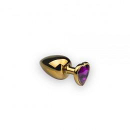 Анальная металлическая пробка с камнем в форме сердца  Gold Heart Sapphire S – фото