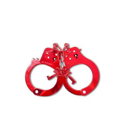 Металеві наручники червоні  - червоний – фото 1