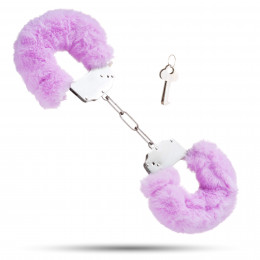 Металлические наручники с мягким мехом S&M CuffS, фиолетовые  – фото