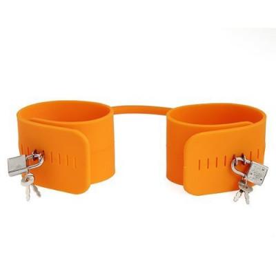 Наручники силіконові з замком  - помаранчевий – фото 1
