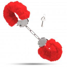 Металеві наручники з м'яким хутром S&M cuffs червоні – фото