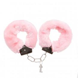 Наручники розовые металл с мехом (для прикола) – фото