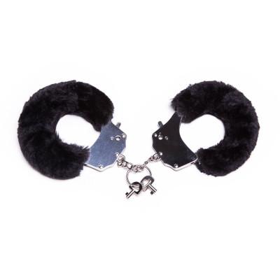 Металеві наручники з хутром, чорні, міцні - чорний – фото 1