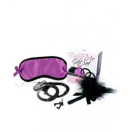 Набір маска на очі, наручники, пір'їнка фіолетовий LOVERS PREMIUM – фото