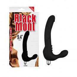 Страпон безремневой со съемной вибропулей 24 см, черный – фото